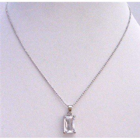 UNE218  Cubic Zircon Faceted Pendant Necklace