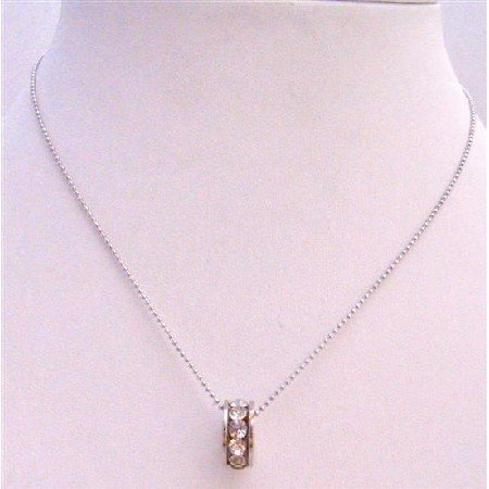 UNE225  Ring Pendant Necklace Embedded w/ Cubic Zircon Necklace