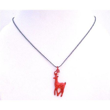 UNE203  Red Reindeer Pendant Black Beaded Choker Necklace w/ Sparkling Red Cubic zircon Pendant