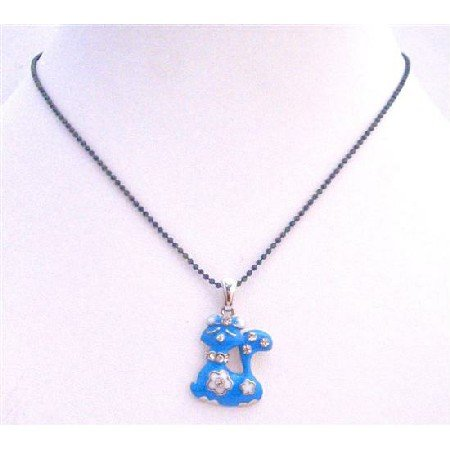 UNE205  Blue Enamel Cute Kitty Pendant Choker Necklace Black Beaded Necklace