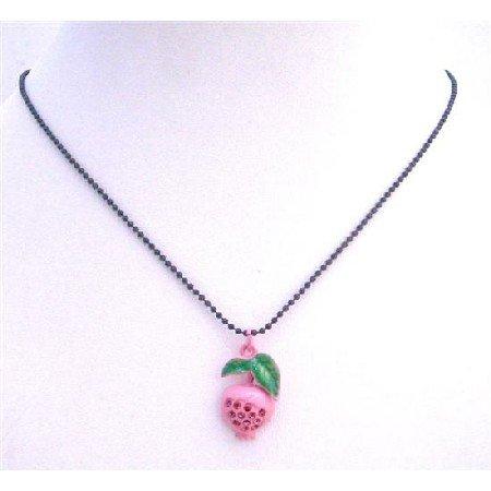 UNE202  Fruit Pendant Choker Necklace