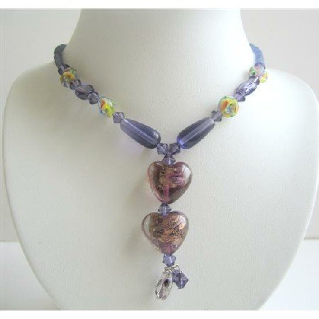 UNE005  Purple Beaded Neckalce Simulated Crystals Millefiori & Cat Eye Beads Necklace