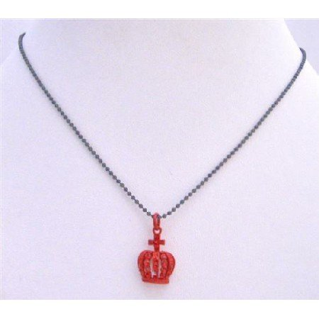 UNE210  Crown Pendant Necklace Shimmering Red Crown w/ Red CZ Pendant Neckalce