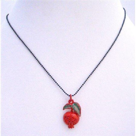 UNE209  Red Apple Pendant Black Beaded Necklace
