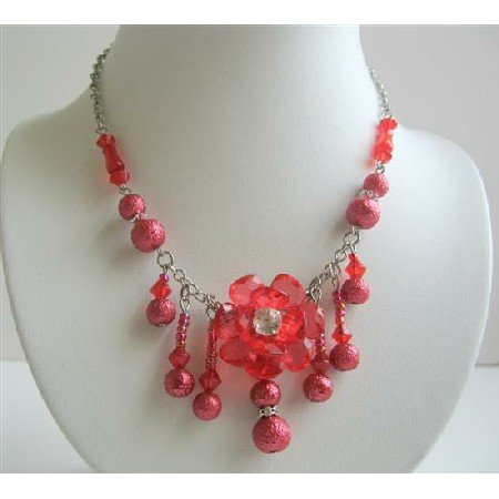 UNE008  Red Beaded Choker w/ Acrylic Bead & Dangling Beads Necklace