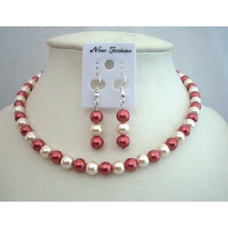 UNS010  Red & Cream Synthetic Pearls Jewelry Necklace Set Synthetic Pearls w/ Dangling Earrings