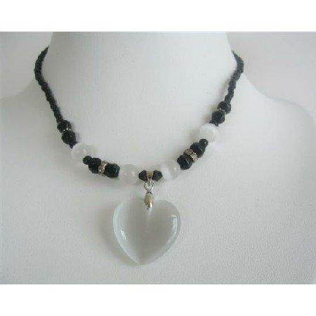 UNE130  PUre White Heart Pendant Necklace Cat Eye White Heart Black Beaded Choker Necklace