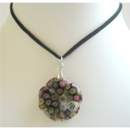 U144  Black Velvet Chord Necklace w/ Simulated Millifiori Flower Pendant