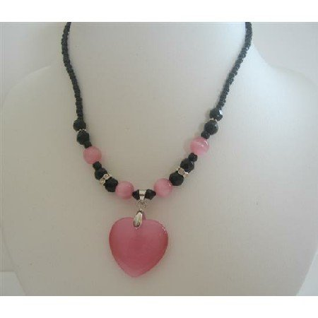 UNE129  Cat Eye Pink Heart Pendant Necklace Black Beaded Choker Necklace