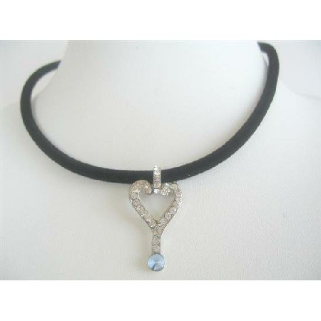 UNE133  Cubic Zircon Key Pendant Necklace Black Velvet Chord Choker