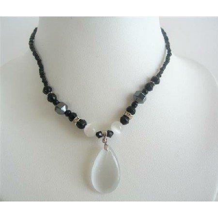 UNE138  Opal White Cat Eye Teardrop Pendant Necklace Black Beaded Choker Necklace