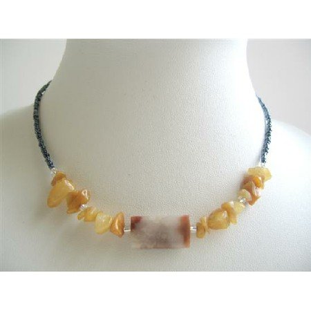 UNE079  Simulated Millefiori Bead & Carnelian Nugget Chip Necklace Black Beaded Necklace