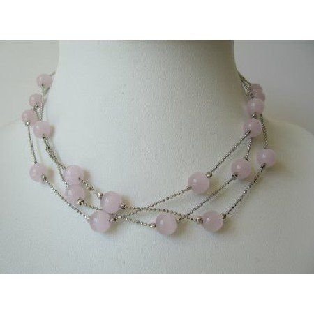 UNE092  Multi Strands Pink Faceted Beads Necklace Glass Beads Choker