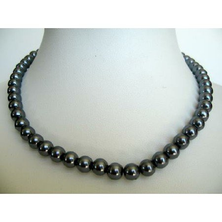 UNE024  Dark Grey Cultured Pearls Choker Necklace