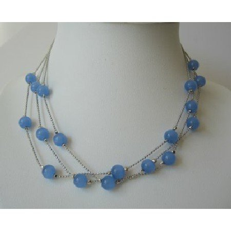 UNE095  Multi Strands Dark Blue Faceted Beads Necklace Glass Beads Choker
