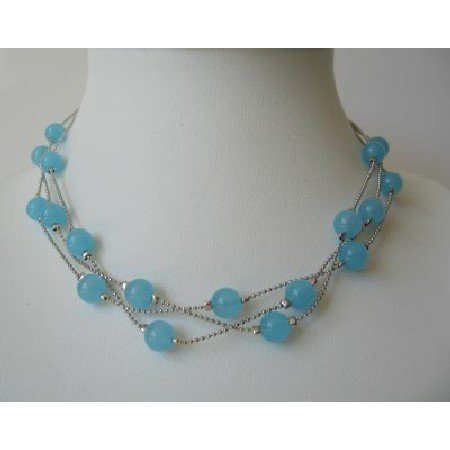 UNE093  Blue Faceted Beads Multi strands Choker Glass Beads Necklace