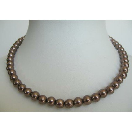 UNE022  Synthetic Pearls Choker Brown Color Necklace