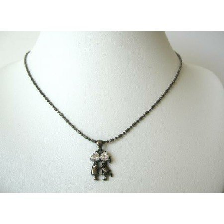 UNE064  Kissing Pendant Necklace Romantic Jewelry Black Metallic Self Designed Necklace