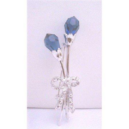 B049  Sapphire Tulip Brooch w/ Silver Tone Sapphire Tulip Brooch Pin
