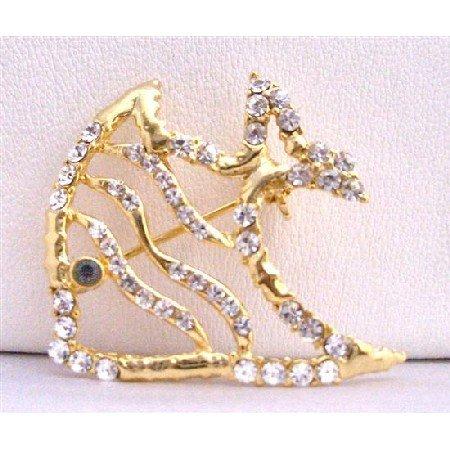 B202  Gold Brooch Gold Fish Brooch Spread & Artistically Decorated w/ Cubic Zircon