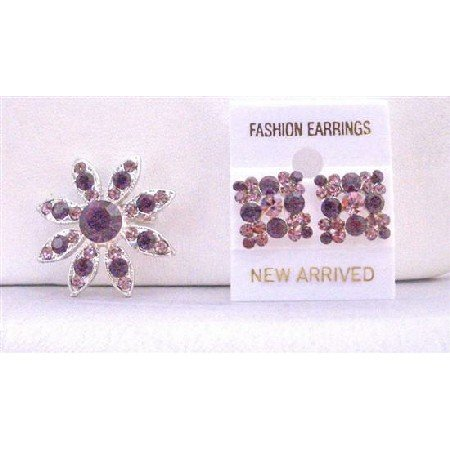 B269  Beautiful Round Amethyst Brooch w/ Flower Light Dark Amethyst Crystals Pin Brooch Earrings