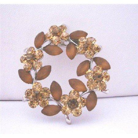 B081  Topaz Brown Round Brooch w/ Brown Enamel Flower Crystals Brooch Pin