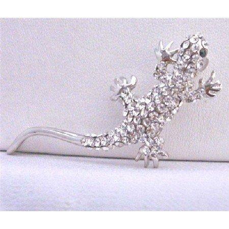 B253  Lizard Brooch Fully Embedded W/ Rhinestones Encrusted Artistically w/ Cubic Zircon