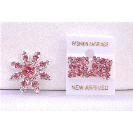 B296  Rose Pink Crystals Round Brooch With Matching Earrings New Combo