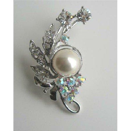 B116  AB Crystals Brooch/Pin w/ Pearls & Cubic Zircon Decorated Brooch