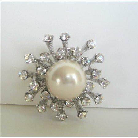 B053  Simulated Diamond w/ Pearls Stud Pin Brooch