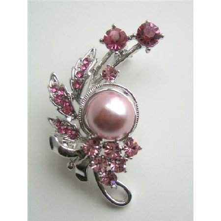 B118  Rose Pink Crystals Brooch/Pin w/ Pink Pearls & Pink Cubic Zircon Decorated Brooch