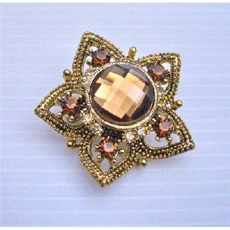 B157 Flower Brooch In Copper Dainty & Sleek Smoked Topaz Crystals Embedded