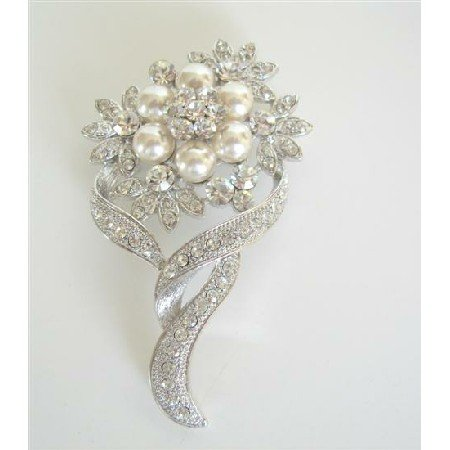 B060  Pearls Flower Bouquet Brooch Pin w/ Cubic Zircon Bud Decorated Brooch