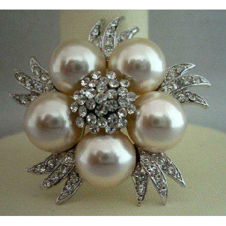B024  Bridal Simulated Diamond Crystals Pearls Brooch Pin Vintage Brooch