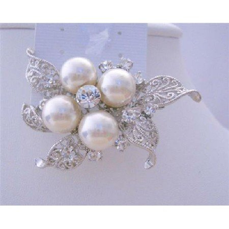 B110  Wedding Brooch Pearls & Cubic Zircon Bridemades Pearls Brooch Dress Brooch