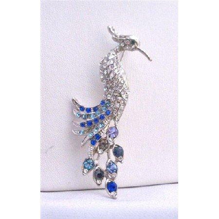 B224  Sapphire Rhinestone Brooch Silver Casting Peacock w/ Lite & Dark Spahire Rhinestone Brooch