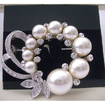 B064  Bridal Pearls Brooch Pin w/ Cubic Zircon Decorated Spread Brooch Pin