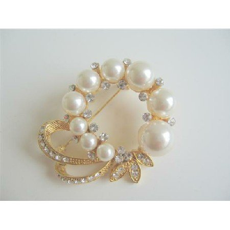 B017  Elegant Formal Pearls Golden Brooch Dress Pearls Cz Brooch