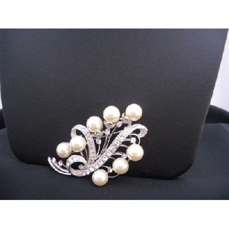B267  Ivory Pearls Bridal Bridemaides Brooch Silver Casting 3 Inches Long