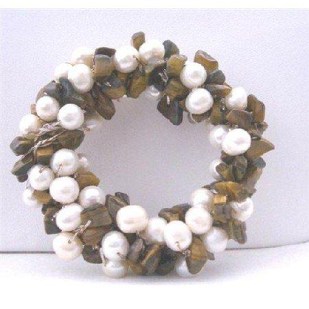 B113  Handcrafted Freshwater Pearls Brooch Pin w/ Tiger Eye Nugget Chip Stone Wedding Brooch