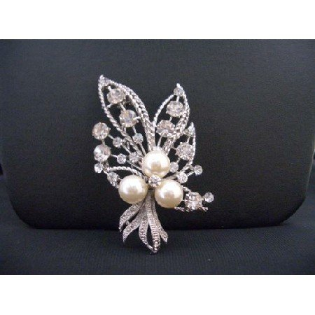 B266  Silver Casting Bouquet Brooch With Ivory Pearls & Shimmering Sparkling Simulated Diamond