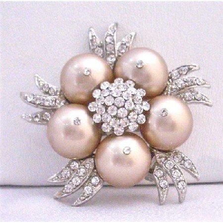 B308  Champagne Pearls Brooch Matching Wedding Dress Champagne Swarovski Pearls Brooch
