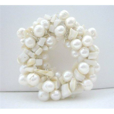 B112  Bridal Bridemaides Dress Brooch Handcrafted White Freshwater Pearls Brooch Pin Wedding Brooch