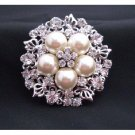 B169  Bridal Brooch Ivory Pearls w/ Cubic Zircon Nest Style Brooch w/ Sparkling Simulated Diamond