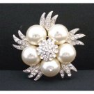 B304  Swarovski Ivory Pearls Brooch Genuine Swarovski Pearls Wedding Brooch w/Simulated Diamond