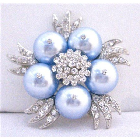B311  Lite Blue Brooch Bridal Party Fashionable Brooch Wedding Genuine Swarovski Blue Brooch