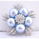 B311  Lite Blue Brooch Bridal Party Fashionable Brooch Wedding Genuine Swarovski Blue Brooch