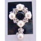 B256  Bridal Wedding Brooch Cake Brooch Pearls & Simulated Diamond Dangling 2 Inches Long