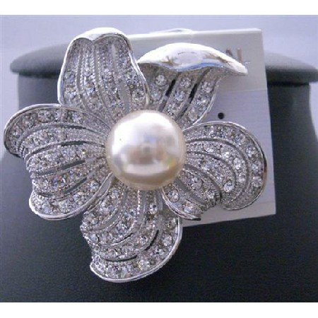 B101  Sunflower Pearls Elegant Sophisticated Brooch Pin w/ Cubic Zircon Bud Decorated Brooch
