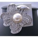 B101  Sunflower Pearls Elegant Sophisticated Brooch Pin w/ Cubic Zircon Bud Decorated Brooch